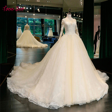 Amdml Luxurious Embroidery Appliques A-line Wedding Dresses Sparkly Beading Pearls Long Sleeve 2017 Real PhotoVestido De Noiva