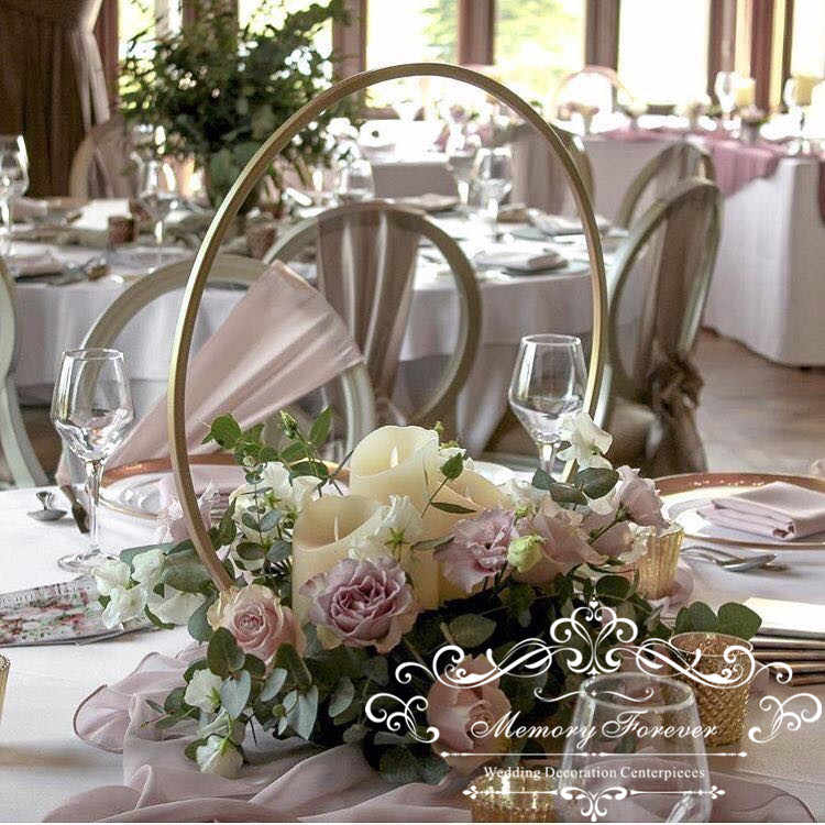 2019 Latest Wedding Centerpieces Round Flower Stand Metal Flower