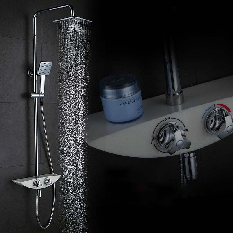 Thermostatic Brass Shower Mixers Water Shower Faucet Set Shower Tap 8 inch Rain Shower Head With Slide Bar Handshower Chrome  ouboni brand new arrival high quality chrome water shower faucet set bath tub shower mixers with handshower 8 rain showerhead