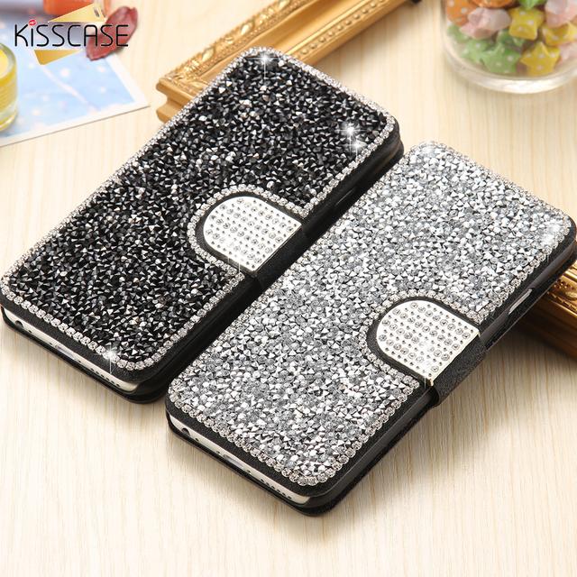 Luxury Glitter Rhinestone Flip Stand Wallet Case For iPhone