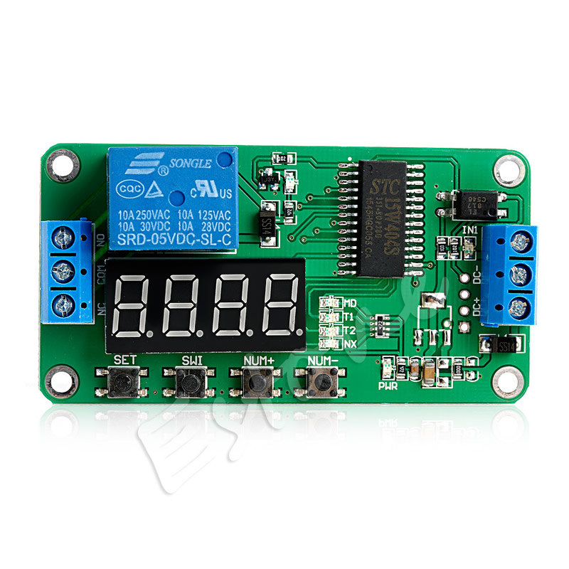 DC 5V Multifunction Self-lock Relay PLC Cycle Timer Module Delay Time Switch 12v timing delay relay module cycle timer digital led dual display 0 999 hours
