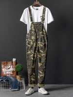Military Army Camouflage Casual Overalls Cargo Pants for Men and Women Casual Suspenders Trousers Jumpsuit Pants Fashion Clothes