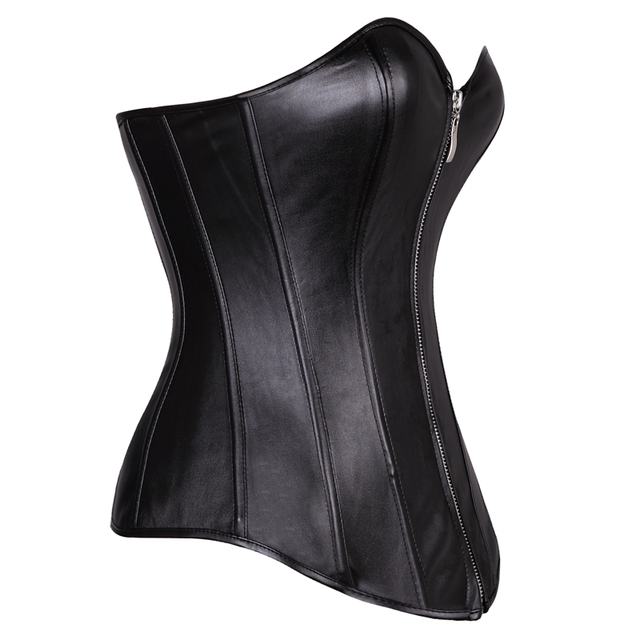 Leather Lace Up Zipper Shiny  Corset Bustier Overbust