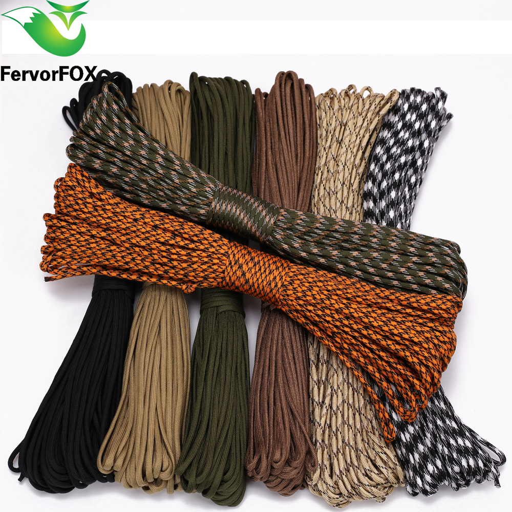 FervorFOX 90 color Paracord 550 Parachute Cord Lanyard Rope Mil Spec Type III 7 Strand 100FT Climbing Camping survival equipment iqiuhike multifunction parachute 550 popular type iii 7 strand paracord cord lanyard mil spec core 100ft camping survival tool