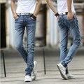 Горячие продаж летний стиль 2016 новое поступление мужская тонкий мода джинсы ноги штаны мужчины корейской дышащий удобные джинсовые брюки