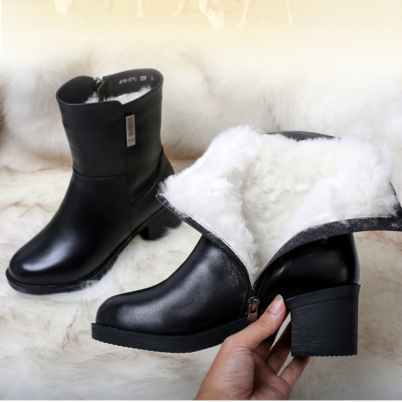 Women Genuine Leather Mid Calf Boots 7 CM High Heels Warm Shoes Winter Leather Martin Boots For Women Fur Insole Winter Boots