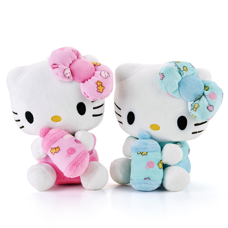 Cute Hello Kitty Plush Pink Hug Bottle Hello Kitty Cat Wearing Glasses Plush Kids Girls Home Decor Doll Toy Brand New 19*13CM new arrival sitting height 30cm hello kitty plush toys hello kitty toys super lovely baby doll classic toys for girls kids gift