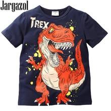 e5ce77d81b344 Jargazol الصيف أعلى الطفل ملابس الأولاد الديناصورات الطباعة قصير كم T قميص  القطن الفتيان قمم 2018 طفل تي شيرت ل 2 طن-7 طن