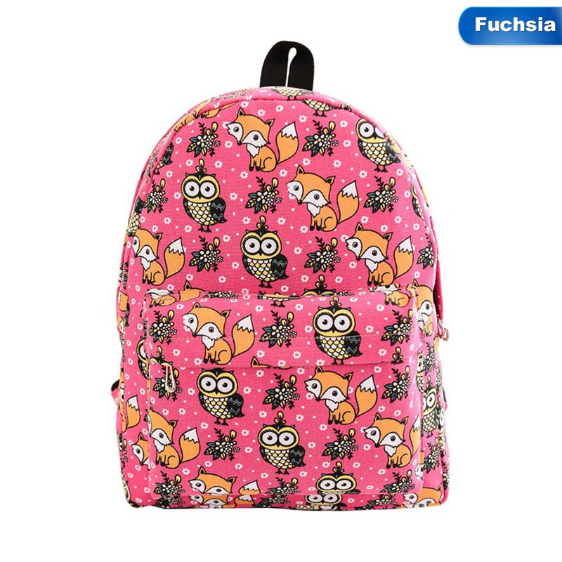 School Backpack Fox Zipper Softback Student Shoulder Bag Women Travel Backpack Fashion Canvas Print Cartoon Owl