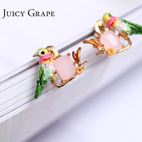 Pendientes Moda Mujer מעיל אוזן קריסטל ורוד תכשיטי אופנה עגילי Oreille Boucle HummingBird מדהים קטן Sieraden Joyas