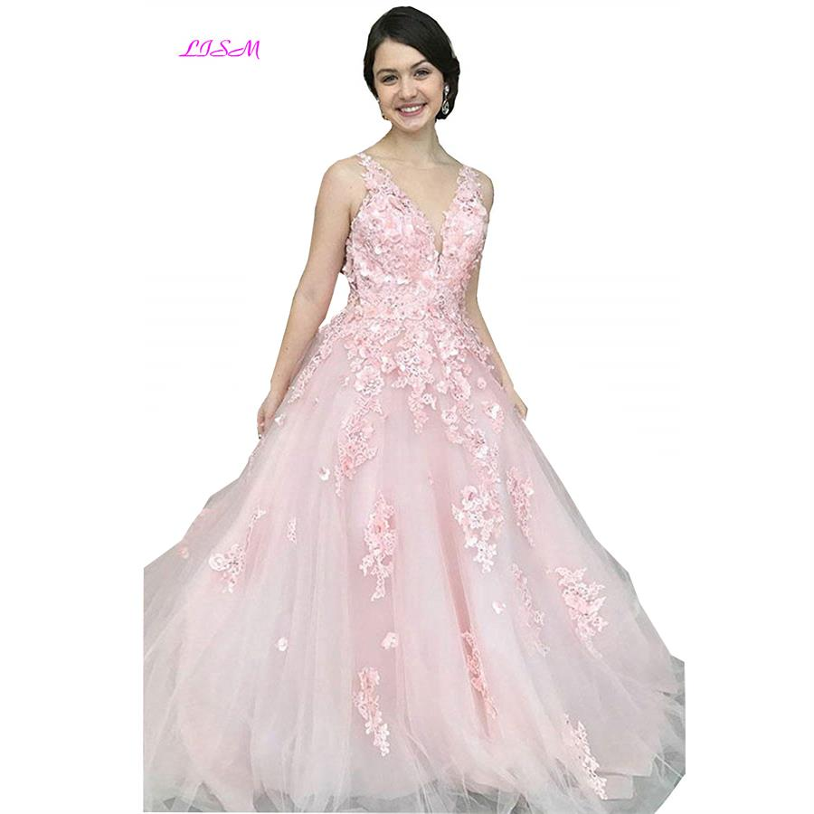 Pink V-Neck 3d Flower Tulle Junior Girls   Prom     Dresses   Beaded Open Back Long Evening Gowns Vestidos Gala Sleeveless Formal   Dress