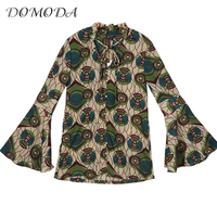 DOMODA Fashion Floral Printed Slim Tops Women Long Sleeve V Neck Female Shirts Sweet High Low