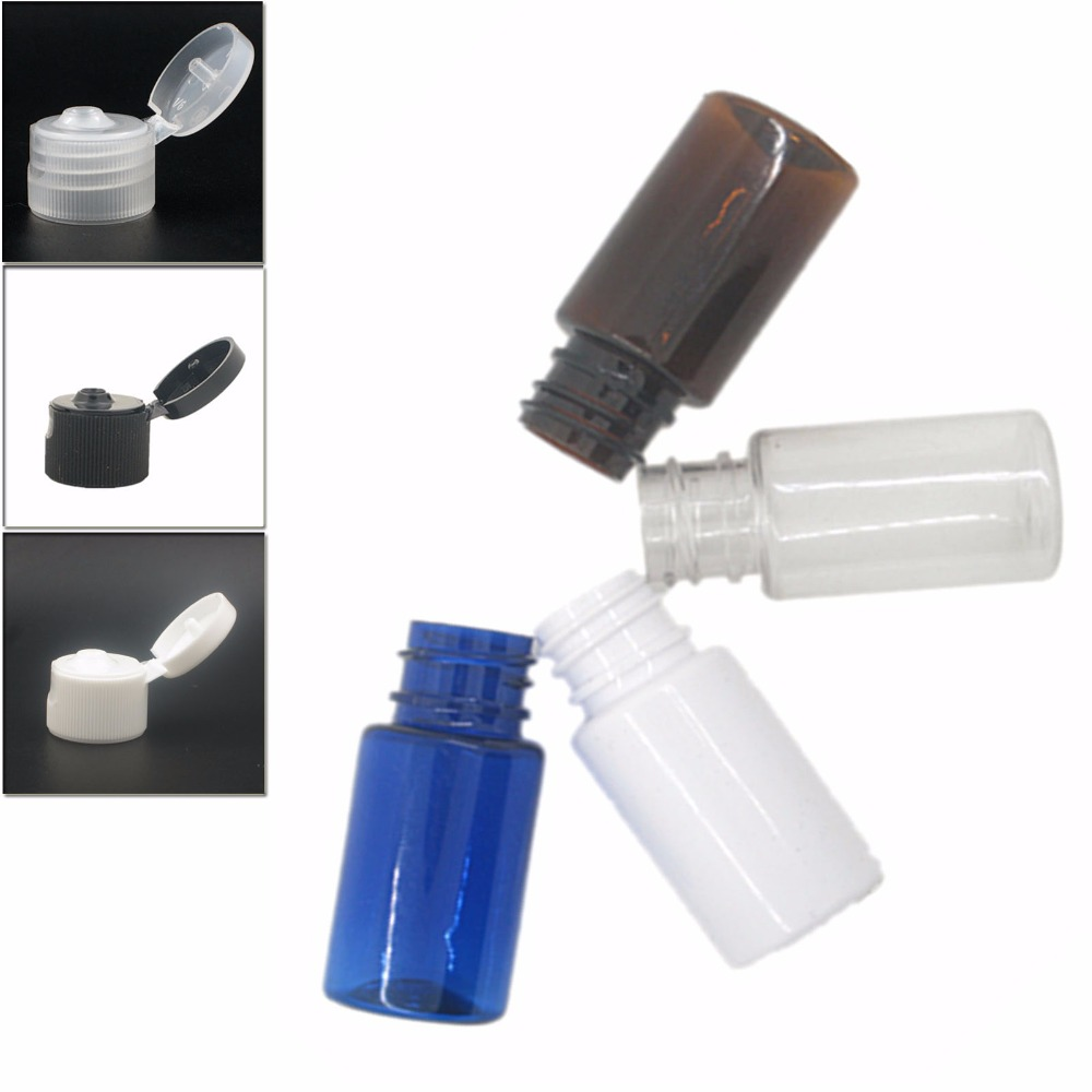 10ml Round Empty Plastic Bottles, Clear/white/amber/blue Pet Bottle With Transparent/white/black Flip-top Cap X 10