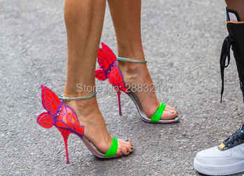 newest metallic embroidered leather sandals angel wings pumps party dress bridal shoes butterfly ankle wrap high heels sandals