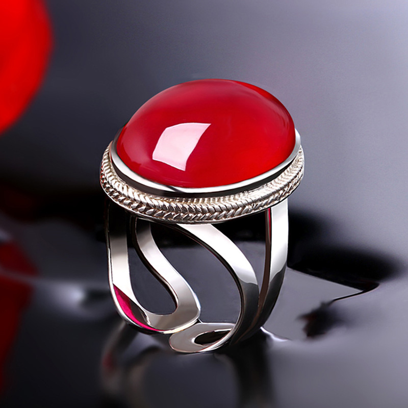 Authentic Ring 925 Sterling Silver Simple Fashion Rings For Women Large Ruby Natural Stone Opening Type