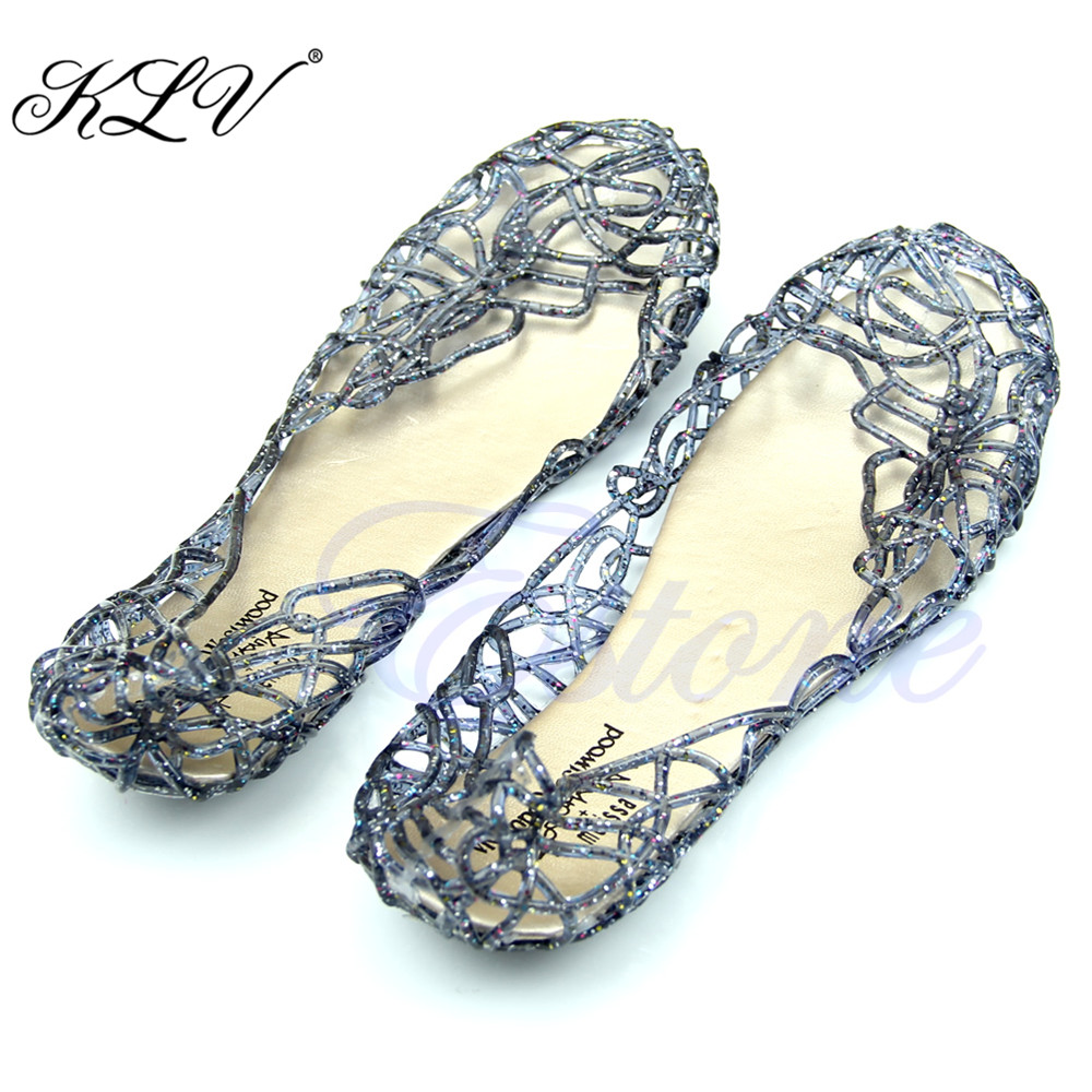 THINKTHENDO Crystal Jelly Hollow Out Birds Nest Flat Sandal New Summer Beach Silve Shoes  Size 36 to 40 lcx 2017 summer pvc hollow out sandals glitter flat stock the bird nest hole wholesale or retail