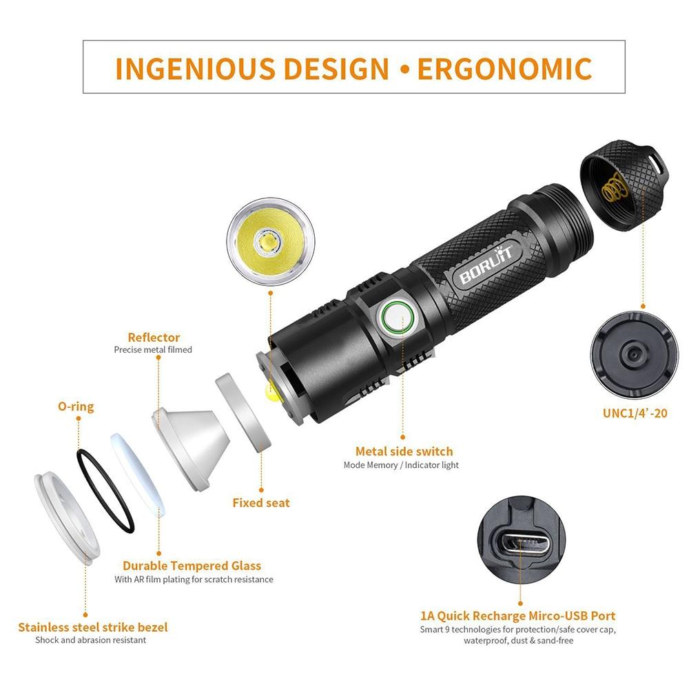 BORUiT BC10 XHP70.2 LED lampe de Poche 6-Mode USB Chargeur Torche Max 3600LM Puissance Banque Lanterne Camping Flash Lampe par 26650 Batterie - 2