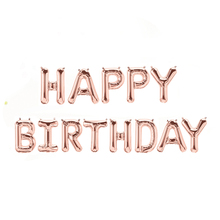 13pcs/lot  happy birthday balloon set silver rose gold letter balloons bunting banner party decorations