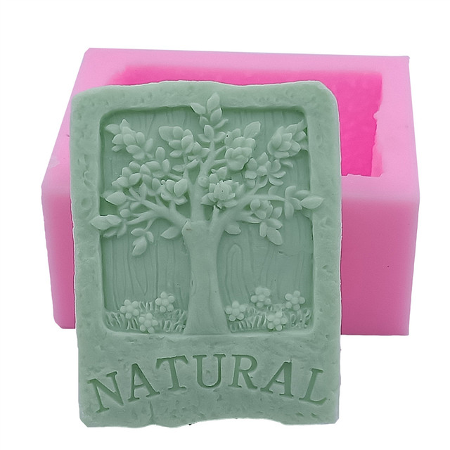 Tree Design Soap Mold Rectangle Silicone For Natural Bar Food Grade Molds