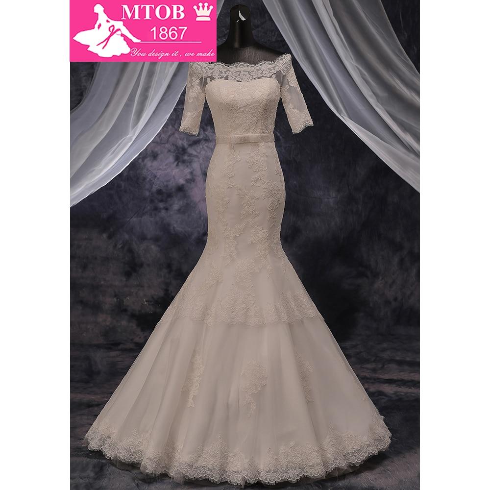 100% Real Lace Mermaid Wedding Dress 2018 Robe De Mariage Boat Neck Off Shoulder Short Sleeves Gorgeous Belt on Waist MTOB1789
