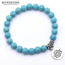 SEVENSTONE рейки 8 мм натуральный камень браслет женские ювелирные изделия Круглый Нержавеющая сталь ожерелье с подвеской в виде цветка браслеты для женщин