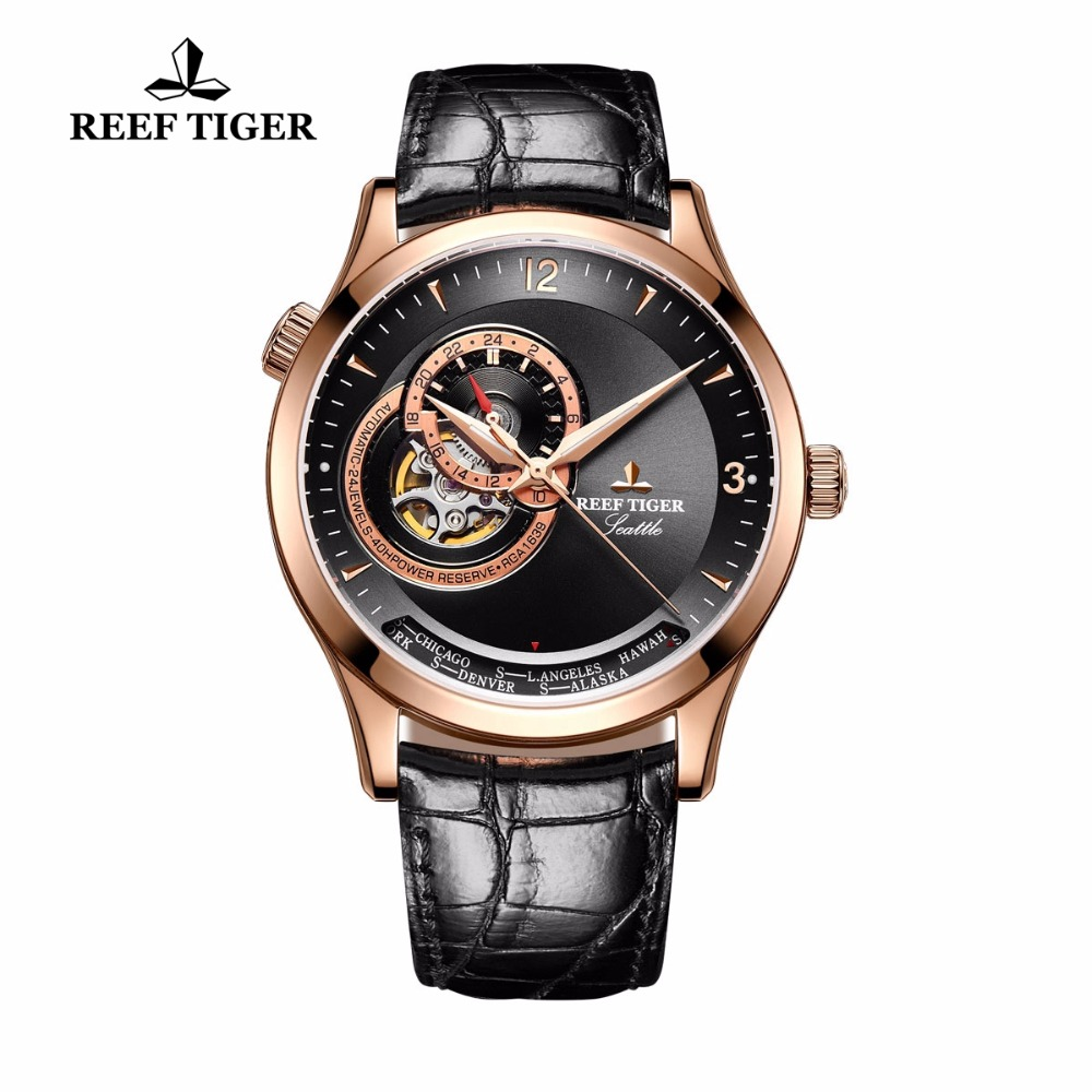 2017 New Reef Tiger/RT Casual Automatic Watches for Men Rose Gold Blue Dial Watch Leather Strap RGA1693