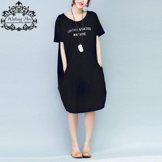 Women dress большой размер хлопок футболки письмо печати летняя мода случайные женщины топы черный серый леди длинные платья с карманными