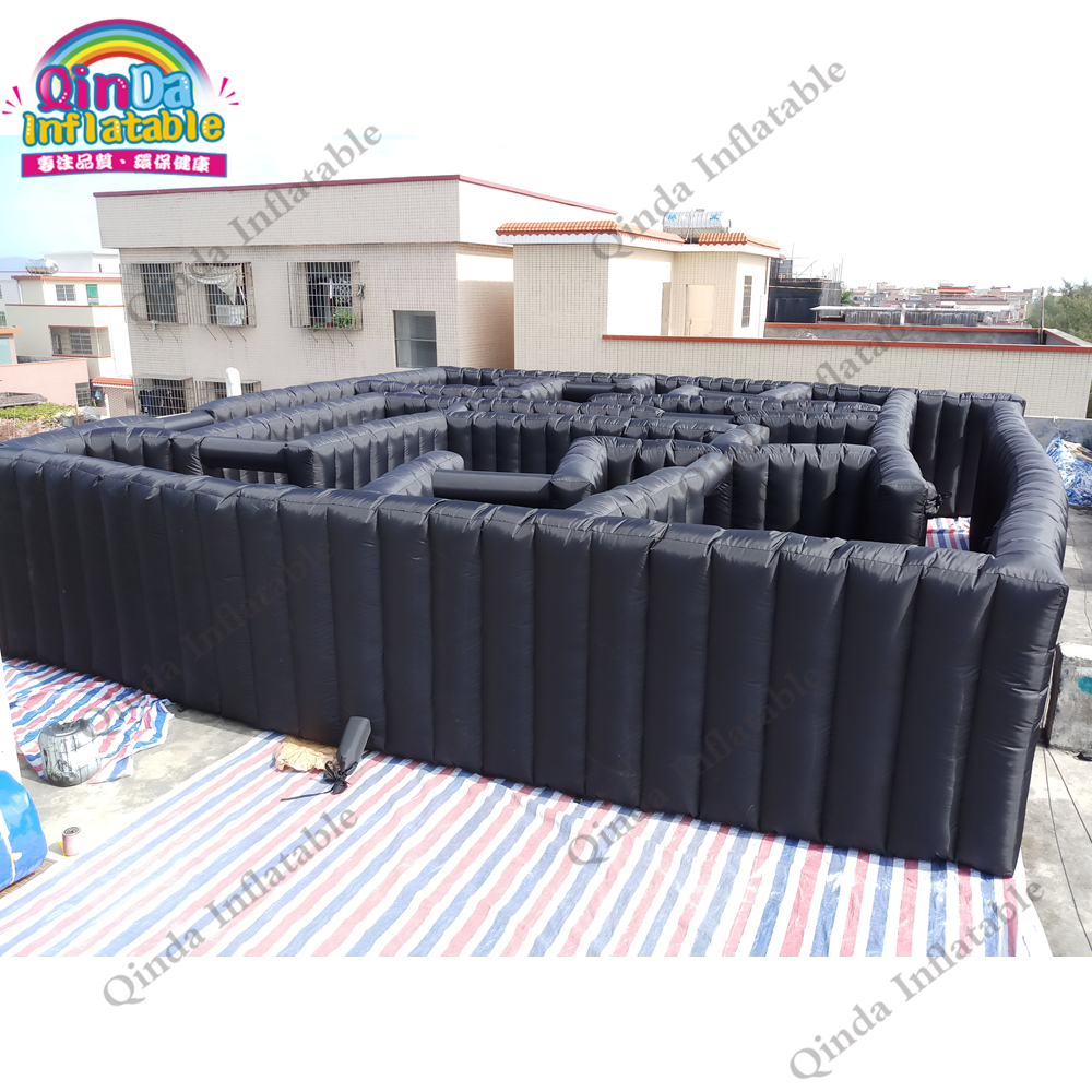 Free air blower 10*10*2m Inflatable Maze Obstacle Course Inflatable Bouncy Maze Black labyrinth free sea shipping inflatable slide jumper combo bouncer obstacle course