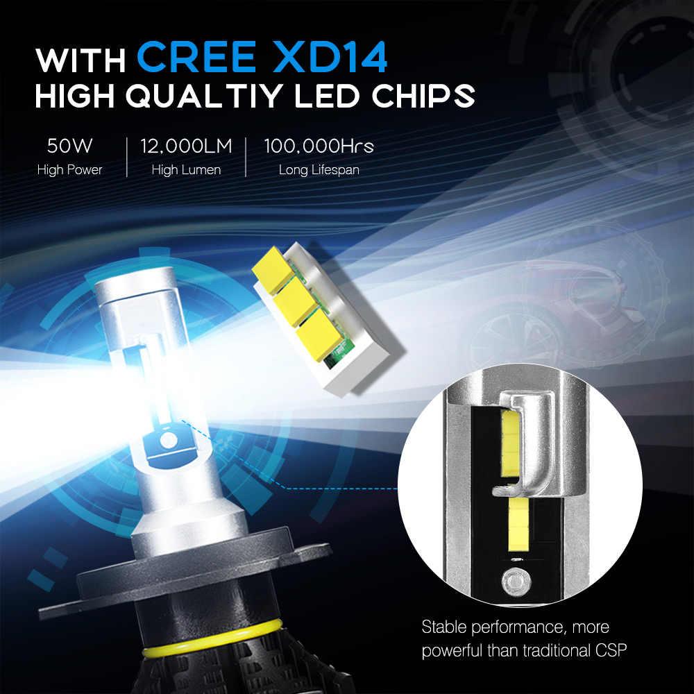 NOVSIGHT H4 H7 H11 H1 H3 9005 9006 Car LED Headlight Bulbs Hi-Lo Beam 50W 12000LM 6500K Auto Headlamp Led Car Lights DC12v 24v