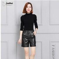 Svadilfari черные высококачественные шорты из натуральной кожи женские повседневные шорты с высокой талией юбки зимние шорты низ 4XL Плюс Размер