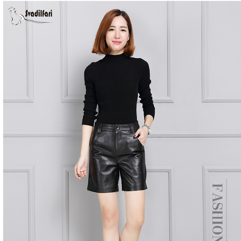 Svadilfari Black High Quality Genuine Leather Shorts Women Casual High Waist Shorts Skirts Winter Shorts Bottoms 4XL Plus Size