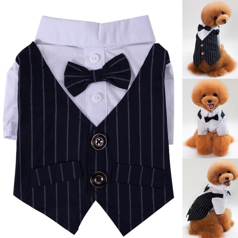S/M/L/XL/XXL Pet Dog Cat Tuxedo Bow Tie Clothes Puppy Wedding Party Pet Shirt Costumes