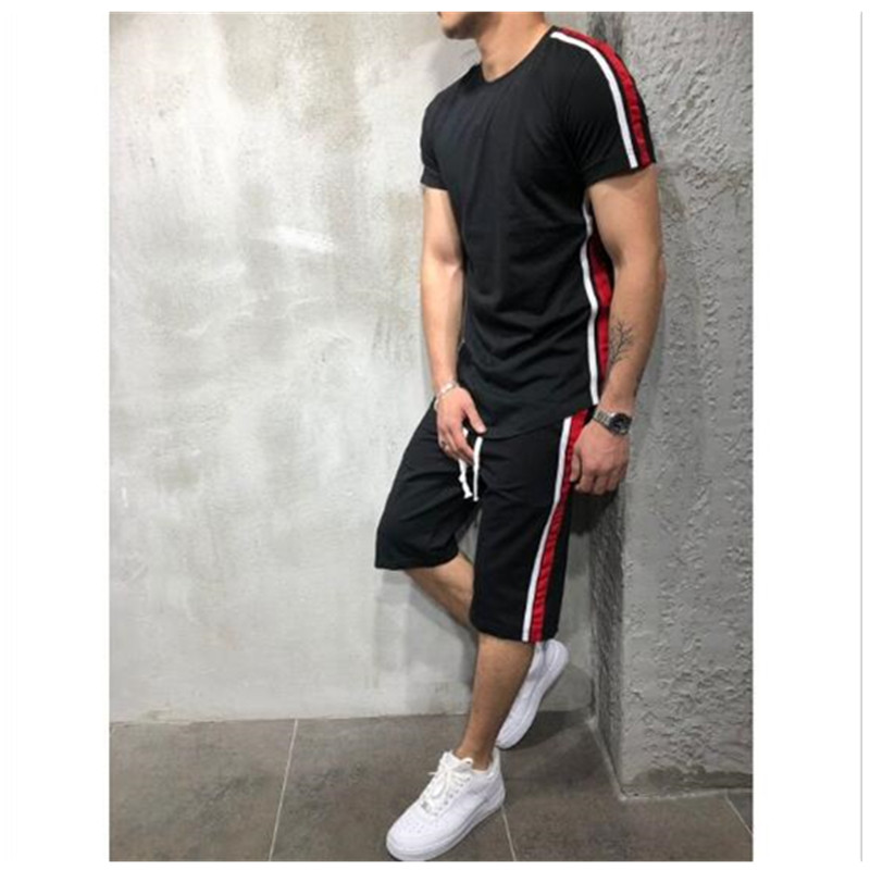 2019 Summer Men Set 2 PC Sporting Suit Short Sleeve T Shirt + Shorts Two Piece Set Sweatsuit Casual Patchwork Jogging