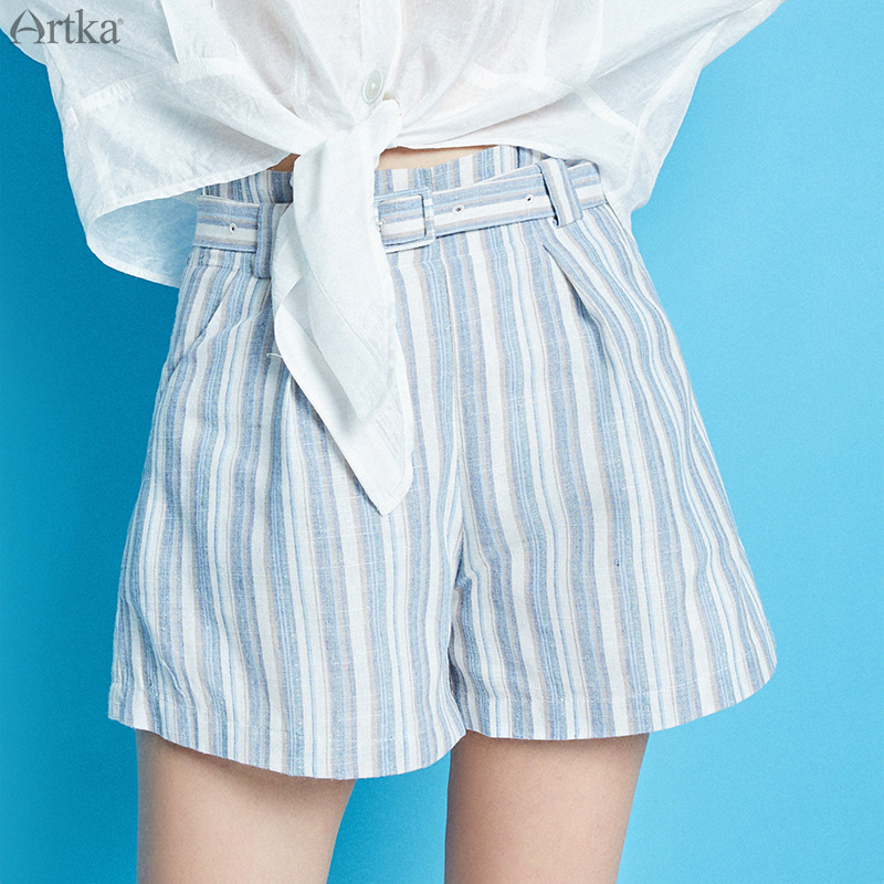 ARTKA 2019 Summer New Women's Shorts Stripe Loose Comfortable Shorts With Belt Fashion High Waist Casual Shorts KA10290X