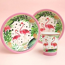 10pcs/set Flamingo Disposable Tableware Gilding Printed Dessert Table Paper Cups Plates Kids Birthday Party Decoration