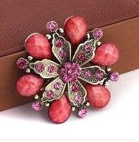 Vendita calda retro vintage fiore grande spille/Coreano moda di lusso gioielli da sposa accessori da sposa all'ingrosso/broche strass