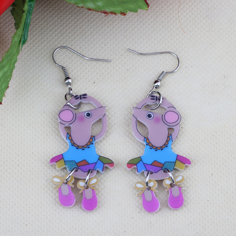 Bonsny Drop Earrings Mouse New 2014 Dressed Girls Cute Lovely Fairy Printing Thin Acrylic Design Angel For Girls Woman Jewelry