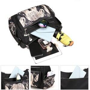 Image 4 - Fashion Cartoon Printing Bag Multi Pocket Women Shoulder Bag High Quality Waterproof Nylon Fabric Messenger Bag Female Handbag