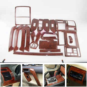Car Styling Wooden Color Cover Trim Panel Overlay Frame Kit 2010-2017 For Toyota Land Cruiser 150 Prado LC150 FJ150 Accessories wooden color door holder handle ac outlet dashboard trim lc 200 car styling 2016 2017 for toyota land cruiser 200 accessories