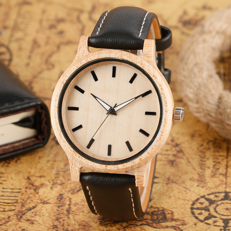 Classical Design Men s Quartz Wood Watches with Black Genuine Leather Band Hand made Nature Wooden