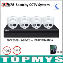 Dahua Security Camera System 4MP IP camera IPC-HDW4431C-A & 8POE NVR2108HS-8P-S2 Surveillance P2P System Remote Viewing