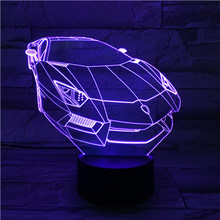 Touch Sensor Nightlight Fascinating Car Shaped 3D Acrylic Color Changing Lamp Usb or Battery Operation Visual Led Night Light цена в Москве и Питере