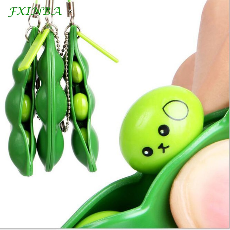FXINBA Cute Bean Squishy Edamame Slow Rising Toys Anti Stress Decor Food Squishies Keychain Phone Chain Squeeze