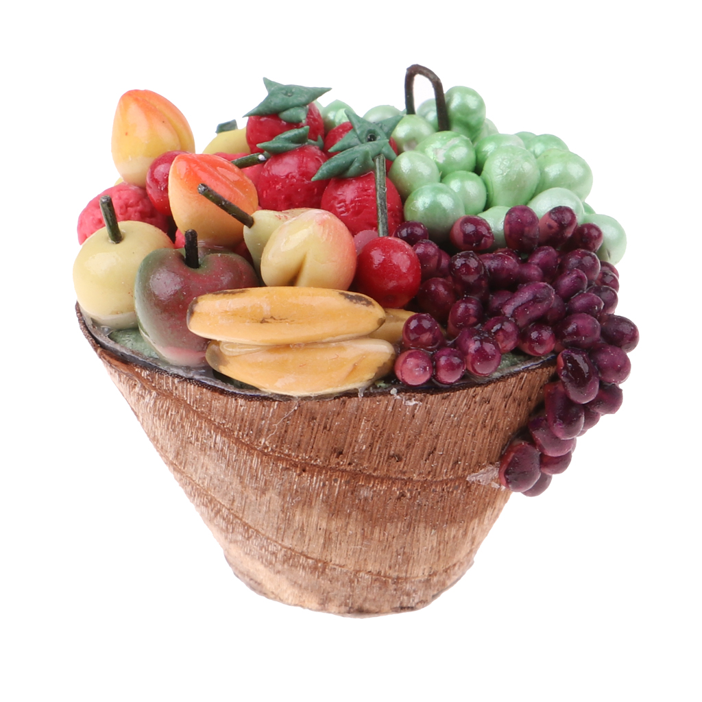 1/12 Miniature Fruit Platter Plate In Wood Plate Set Fruit Basket Dollhouse Living Room Table Accessories Life Scenes Items