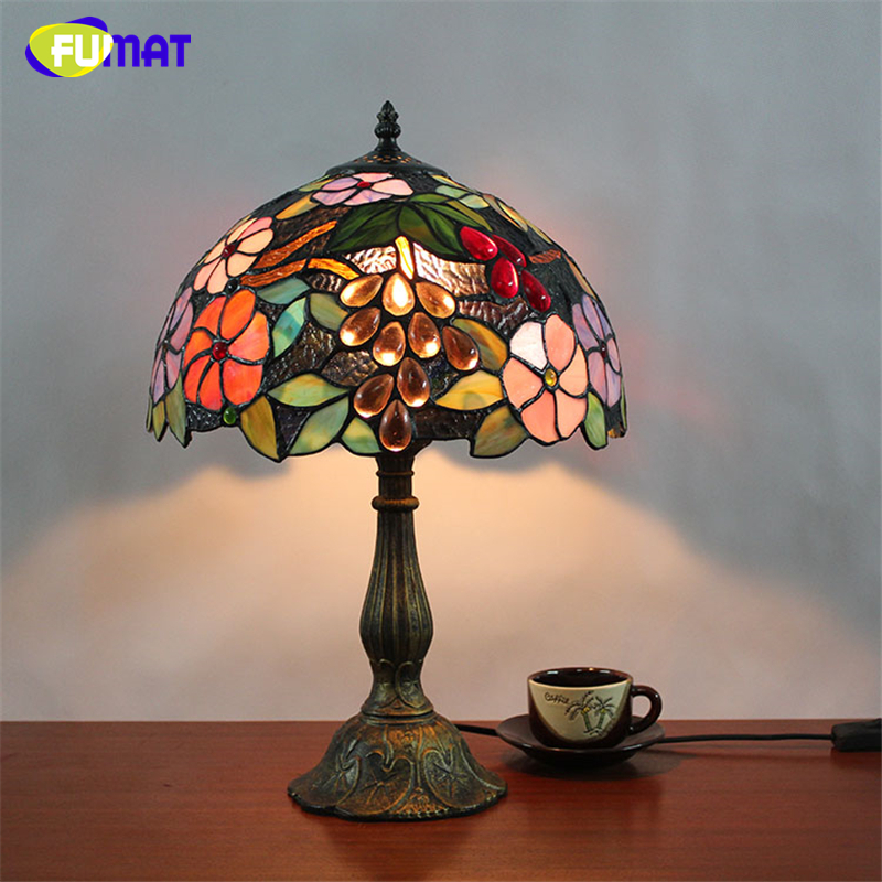 FUMAT Table Lamps Stained Glass Lamp led light Bedside Study Pastoral Living Room Bar Table Lights
