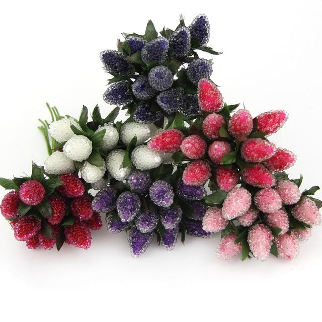 12PCS/Lot DIY New Plastic Artificial StrawBerry Flower Bouquet For ...