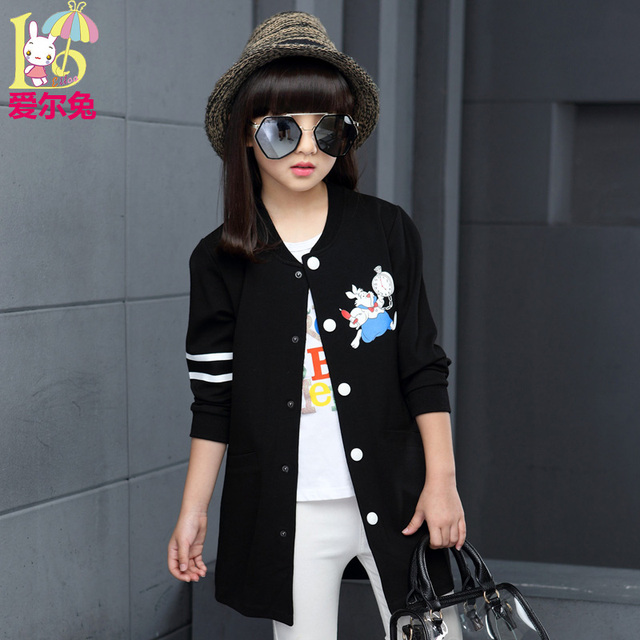 Children's clothing female child 2017 autumn child clothes child long-sleeve outerwear medium-long trench spring and autumn