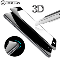 TOMKAS 3D Edge Tempered Glass For IPhone 7 7 Plus Full Cover 3D Round Curved Protective