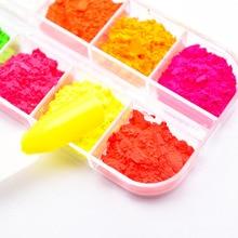 12 สี/ชุดเรืองแสงนีออน Pigment ผงเล็บ Glitter Gradient สีเล็บตกแต่งศิลปะ SF3080