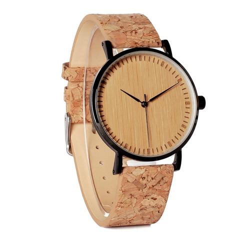 BOBO BIRD E19 Ultra Thin Bamboo Wooden Watches Men Women Simple Quartz Watches Cork Band relojes para mujer Lahore